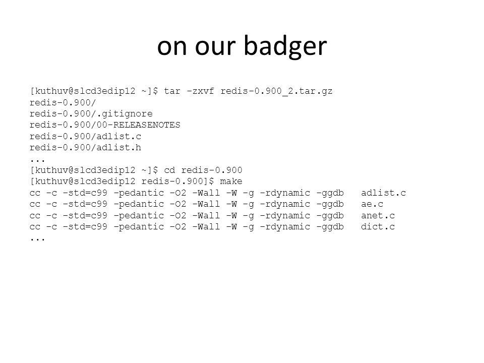on our badger [kuthuv@slcd3edip12 ~]$ tar -zxvf redis-0.900_2.tar.gz